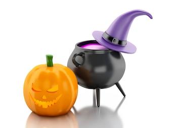 Halloween-Kürbis 3d mit Hut- und Hexentopf.