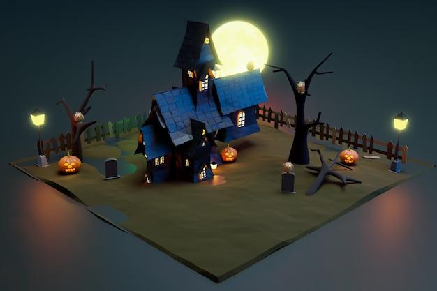 Halloween schwarzes schloss in der nachtszene, 3d-darstellung