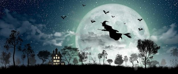 Halloween-silhouette der hexe, die über den vollmond, das spukhaus, die fledermäuse und den toten baum fliegt.