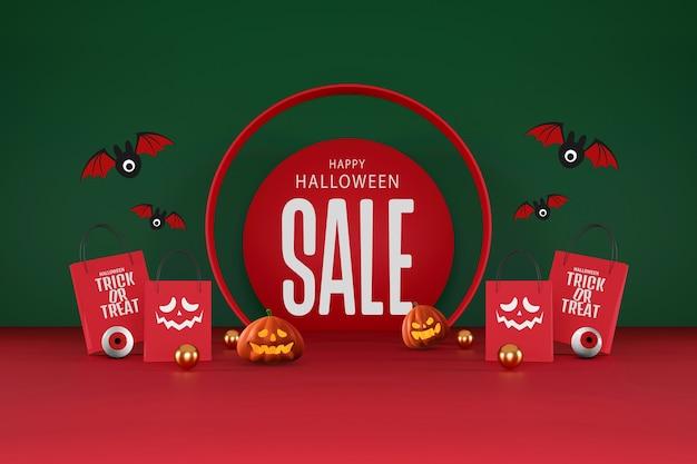 Halloween-verkauf-banner-design. halloween-kürbisse und einkaufstasche auf orangefarbenem und rotem hintergrund für grußkarten, banner, poster, blogs, artikel, social media, marketing. 3d-darstellung