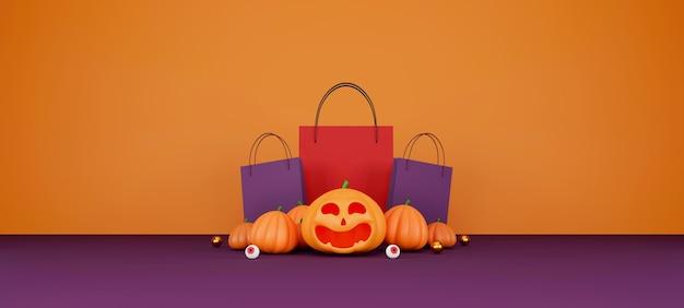 Halloween verkauf banner design halloween kürbisse und einkaufstasche auf orangem hintergrund für gruß c