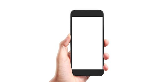 Halten sie mobiltelefone, smartphones in der hand und touchscreen-technologie