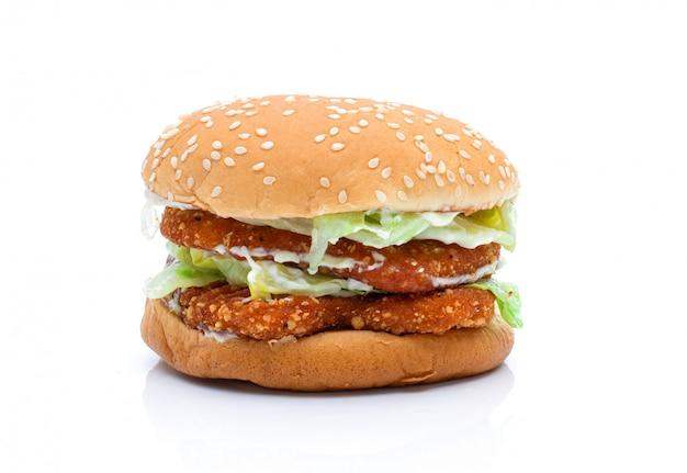 Hamburger ein huhn auf einem weißen