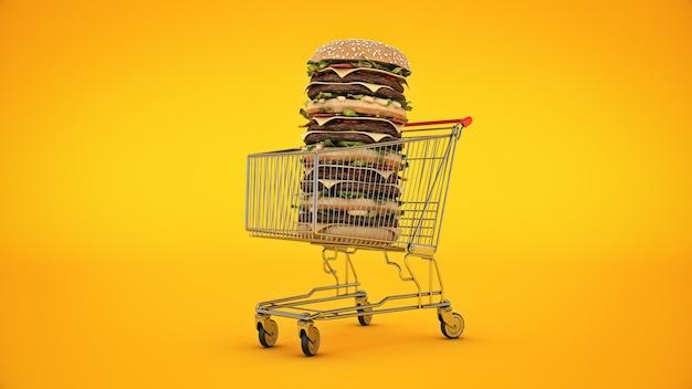 Hamburger mit einkaufswagen 3d-rendering