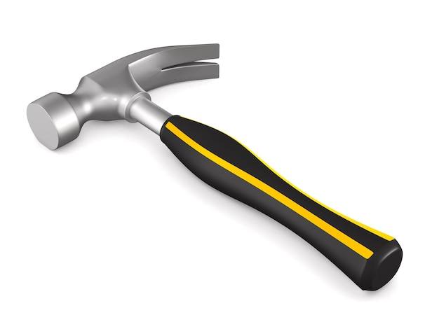 Hammer auf weißem hintergrund. isolierte 3d-illustration