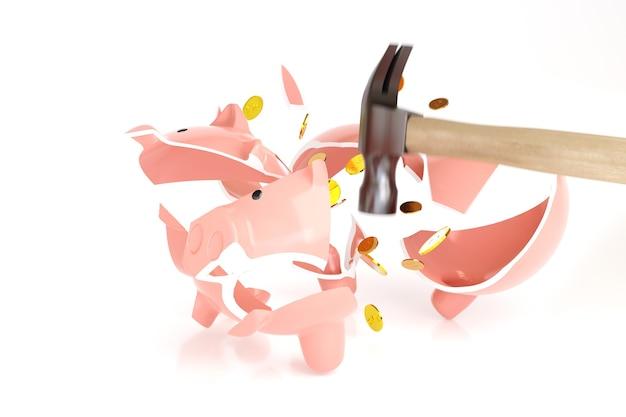 Hammer, der ein sparschwein mit einigen münzen bricht, die auf weißer oberfläche isoliert werden. krisenkonzept. 3d-illustration.