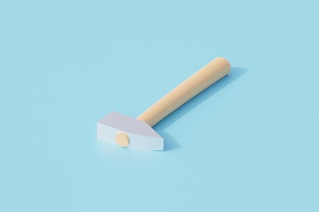 Hammer mit holzgriff einzelnes isoliertes objekt. 3d-rendering