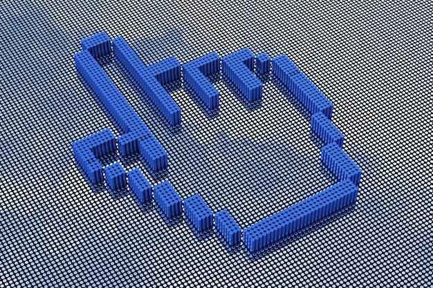 Hand-cursor im pixel-art-stil. 3d-rendering