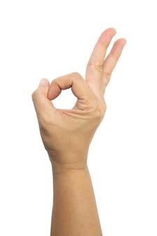 Hand der asiatischen frau ist show ok geste isoliert auf weiß