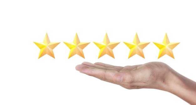 Hand der berührung steigt auf zunehmende fünf sterne. erhöhen sie das klassifizierungskonzept für die bewertung