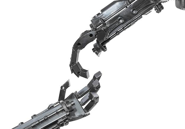 Hand der cyborgskulptur gemacht vom altmetall lokalisiert