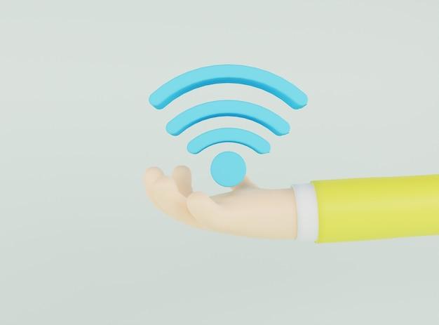 Hand der illustration 3d, die blaues netzikone auf hellgrünem hintergrund hält