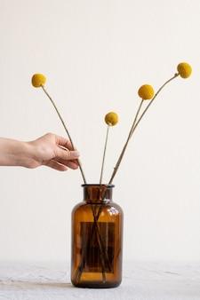 Hand der jungen kreativen frau, die zusammensetzung der gelben getrockneten wildblumen macht, während sie in dunkle flasche oder vase setzen