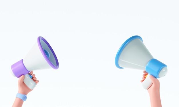 Hand der karikatur 3d, die megaphon auf lokalisiertem weißem hintergrund mit kopienraum hält. 3d-render-darstellung