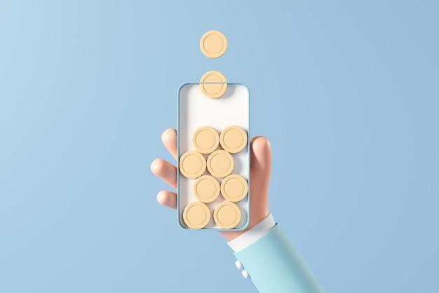 Hand des geschäftsmannes, der ein smartphone hält, umgeben von goldener münze auf blauem hintergrund