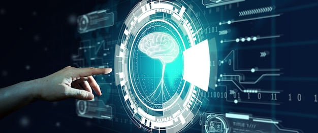 Hand des geschäftsmannes, der hologrammbildschirm mit weltkartenhintergrund berührt. nlp natural language processing cognitive computing-technologiekonzept.
