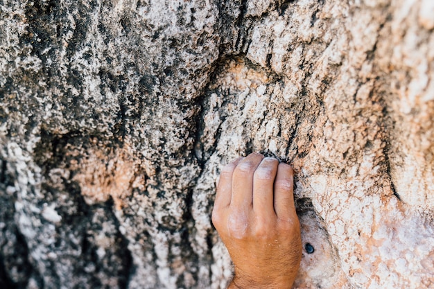 Hand des kletterers am felsen
