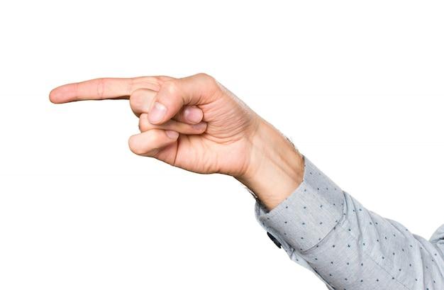 Hand des menschen zeigt auf die laterale