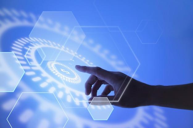 Hand, die auf den hintergrund der währungsblockkettentechnologie zeigt