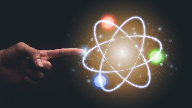 Hand, die auf symbolmolekülillustration zeigt