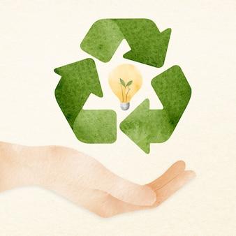 Hand, die das designelement der recyclingidee unterstützt