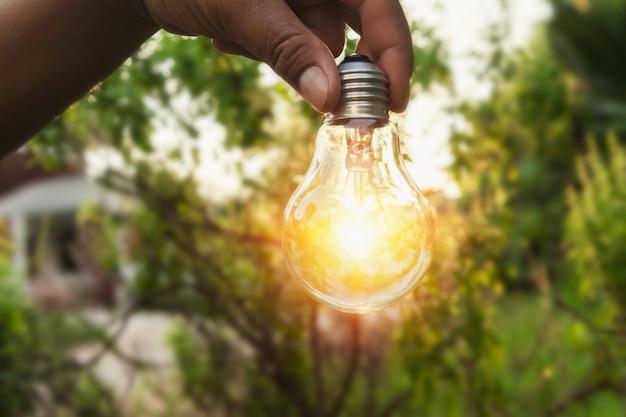 Hand, die eine glühlampe mit sonnenuntergangenergie anhält