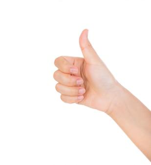 Hand, die eine positive geste zeigt