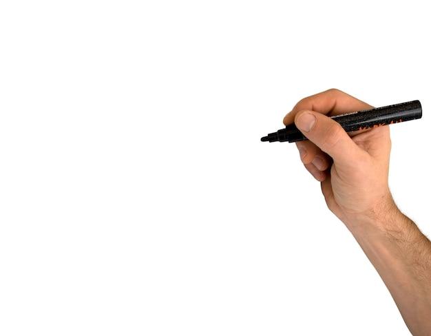 Hand, die einen filzstift lokalisiert auf transparentem hintergrund hält