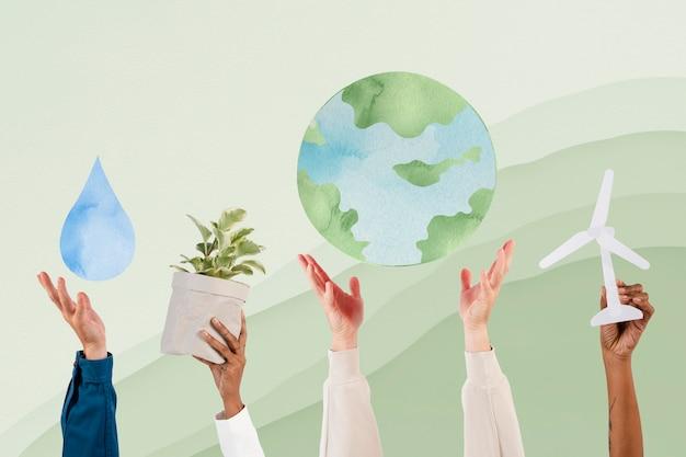 Hand, die einen nachhaltigen umweltremix der erde präsentiert