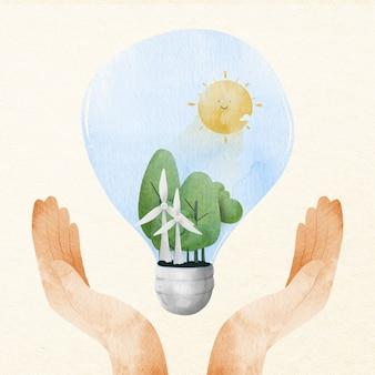 Hand, die energiesparendes gestaltungselement der idee unterstützt