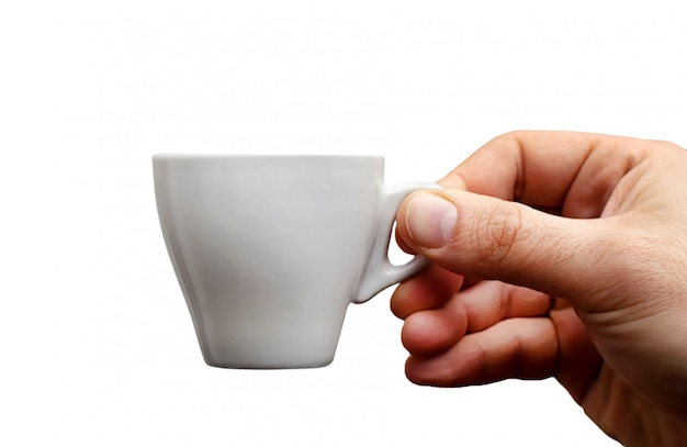 Hand, die espressokaffeetasse hält