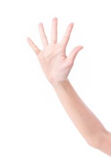 Hand, die fünf finger lokalisiert auf weißem hintergrund zeigt