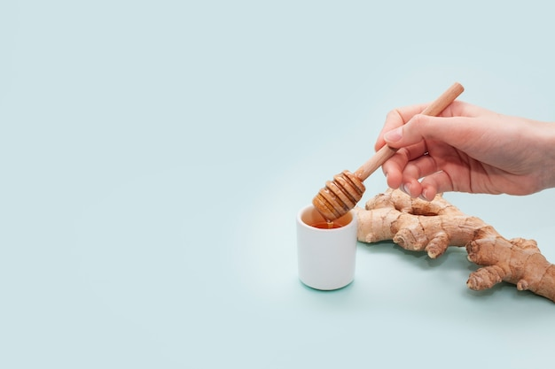 Hand, die honigstock mit kopienraum hält