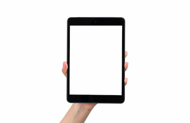 Hand, die leeren bildschirm des digitalen tabletts hält, lokalisiert auf weißer wand.