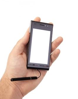 Hand, die leeren mobilen smartphone hält