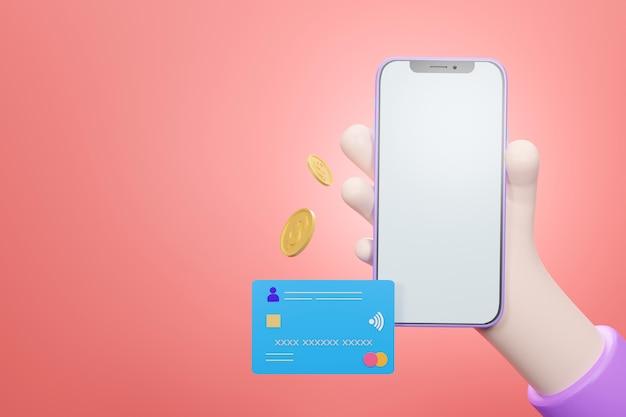 Hand, die leeres bildschirm-smartphone mit über kreditkarte für internet-banking und sicheres online-zahlungskonzept hält, 3d rendern