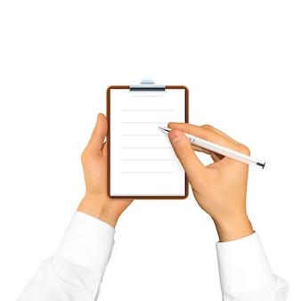 Hand, die leeres notizbuch in der hand hält.