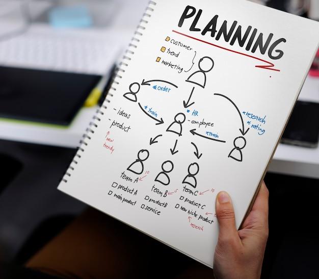 Hand, die notizbuch mit drew brand logo creative design-ideen hält