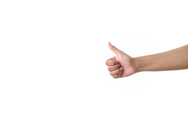 Hand, die okayzeichen gegen weißen hintergrund zeigt. konzept des vertrags- oder genehmigungsgremiums
