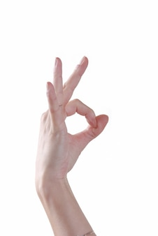 Hand, die okayzeichen macht
