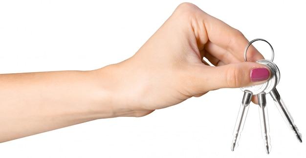 Hand, die schlüsselbund hält