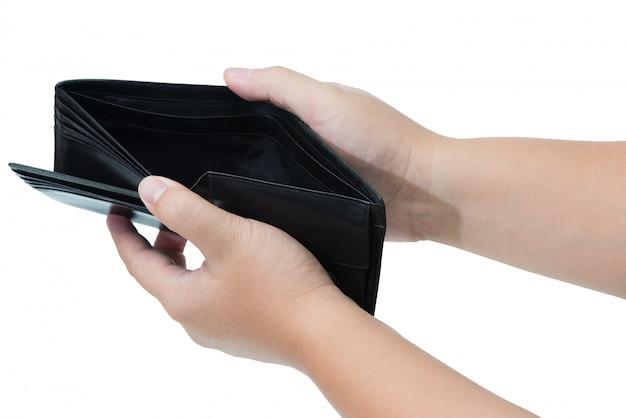 Hand, die schwarzen leeren geldbeutel hält