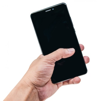 Hand, die smartphone lokalisiert auf weiß hält