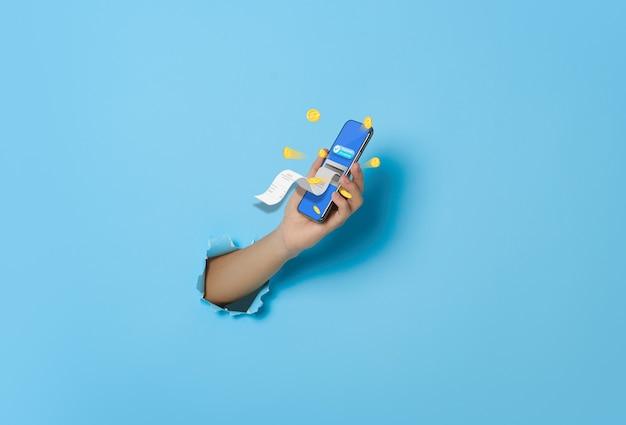 Hand, die smartphone mit elektronischer rechnungsbenachrichtigung hält, die für verbundene karte aus dem bildschirm fliegt. e-rechnung und zahlung per kreditkarte über elektronische geldbörse.