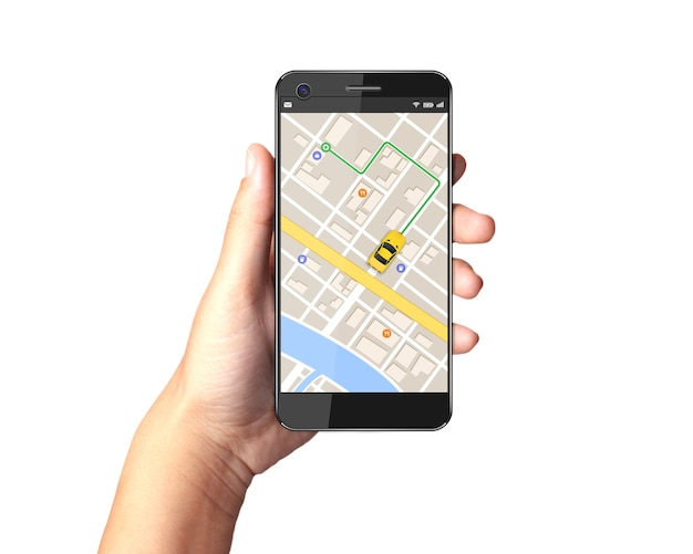 Hand, die smartphone mit gps-navigatorkarte auf anzeige hält