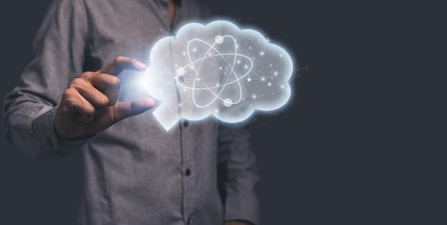 Hand, die symbolgehirn hält, das wissenschaftliche ideenillustration darstellt