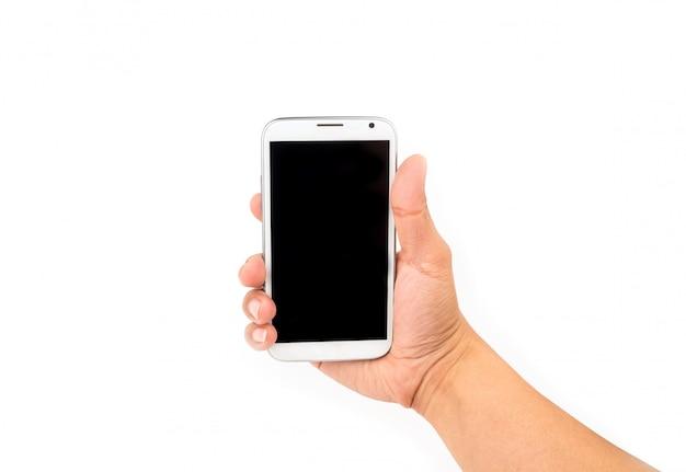 Hand, die weißen smartphone auf weißem hintergrund hält