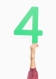Hand, die zeichen der nr. vier hält
