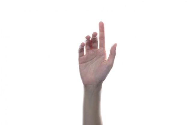 Hand drücken sie die taste, klicken sie mauskonzept auf weißem isoliertem hintergrund.
