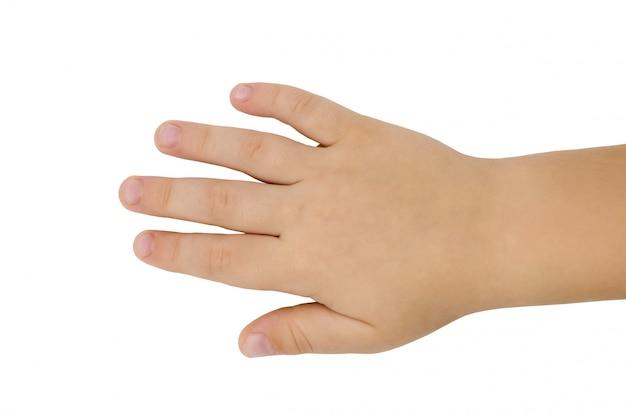 Hand eines kleinen jungen von drei jahren